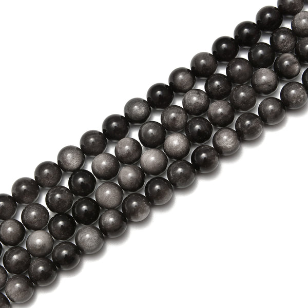 silver obsidian smooth round beads