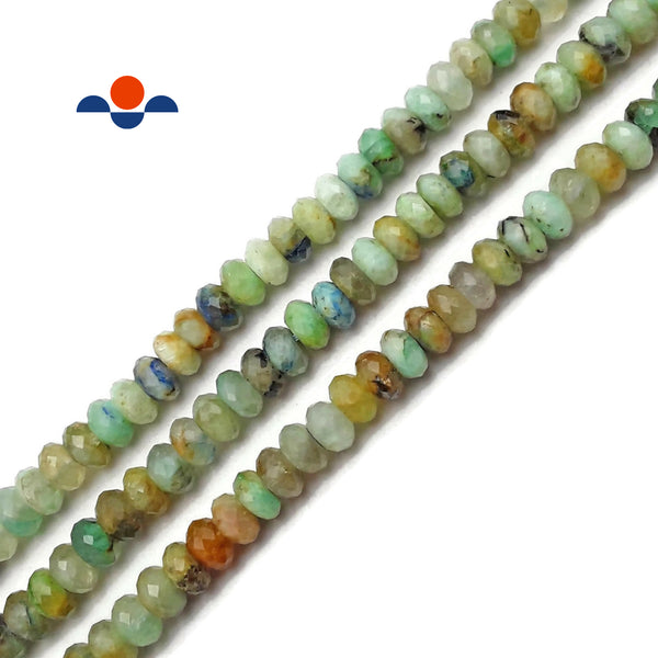 Natural Chrysocolla Faceted Rondelle Beads Size 4x7.5mm 15.5'' Strand