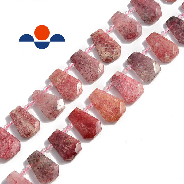 strawberry quartz graduated faceted trapezoid beads