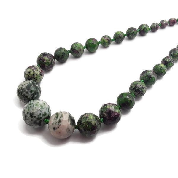 ruby zoisite jade graduated faceted round beads