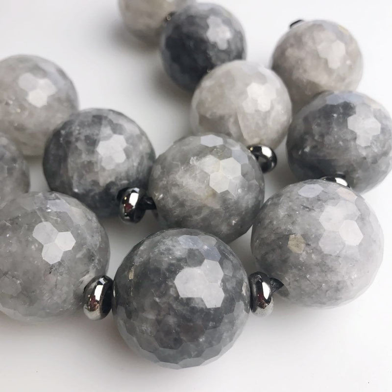large hole cloudy quartz faceted round beads