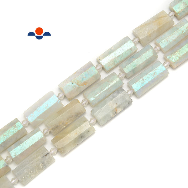 Coated White Moonstone Faceted Rectangle Cylinder Beads Size14x28mm 15.5''Strand