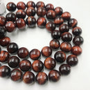 "2.0mm Hole Red Tiger Eye Smooth Round Beads 6mm 8mm 10mm 15.5"" Strand"