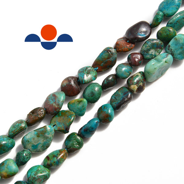 natural chrysocolla side drill pebble nugget beads