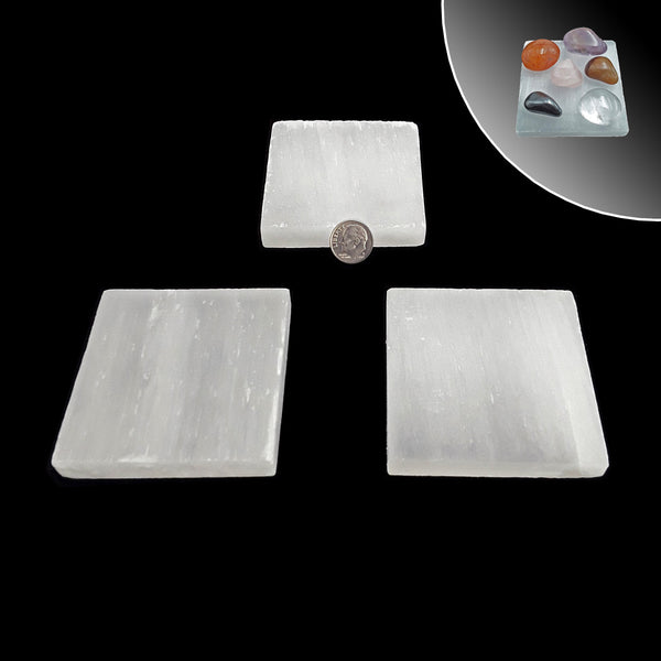 "Selenite Square Crystal Charging Plate 2.5'' x 2.5"" Inches 0.5"" Thick"
