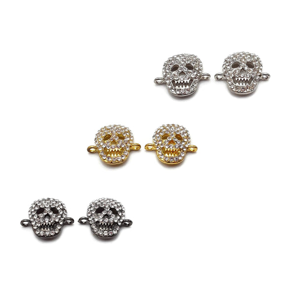 Alloy Silver/Gold Plated Rhinestone Skull Connector Charm 17x19mm Sold Per Pair
