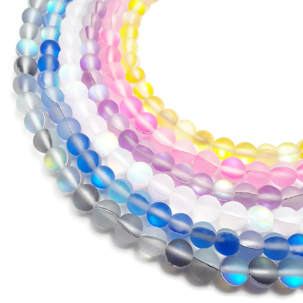 frosted mystic aura gray white blue yellow pink purple beads