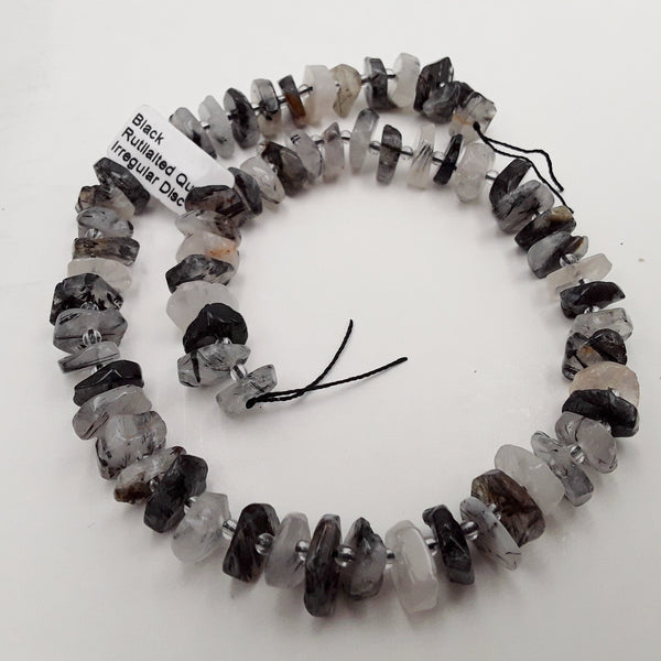 black tourmalinated quartz rough wheel Discs beads