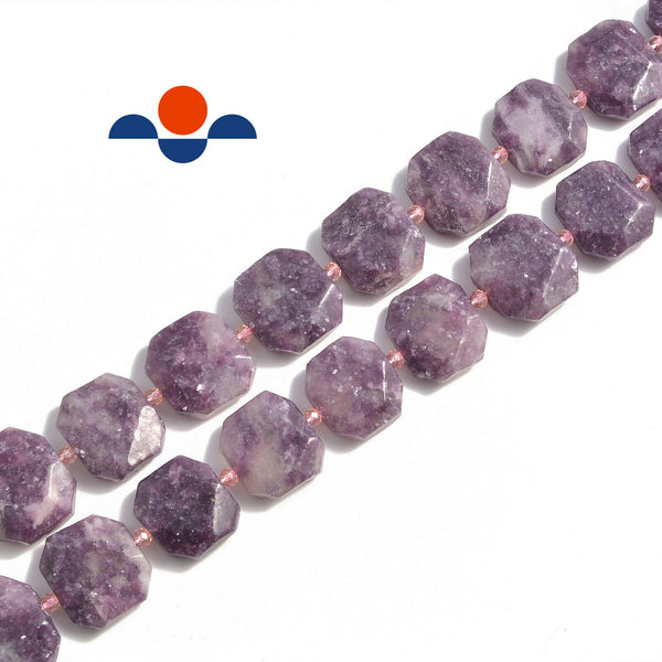 lepidolite rectangle slice faceted octagon beads