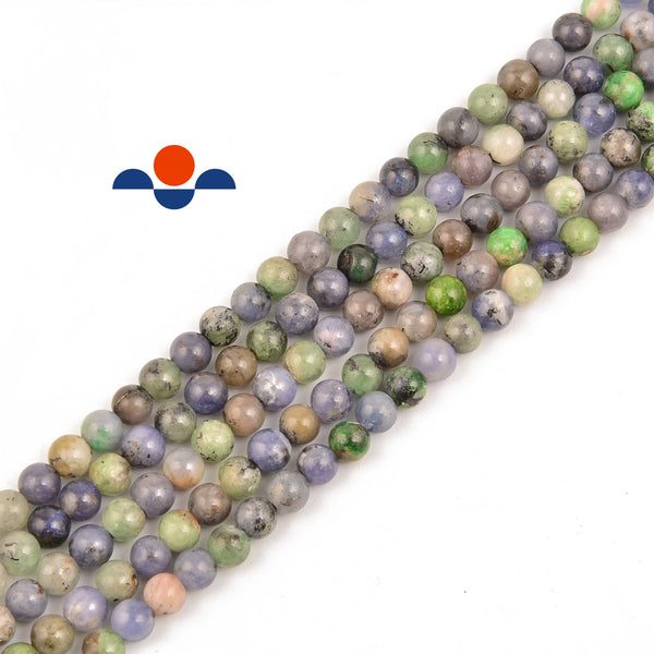 natural multi color tanzanite smooth round beads