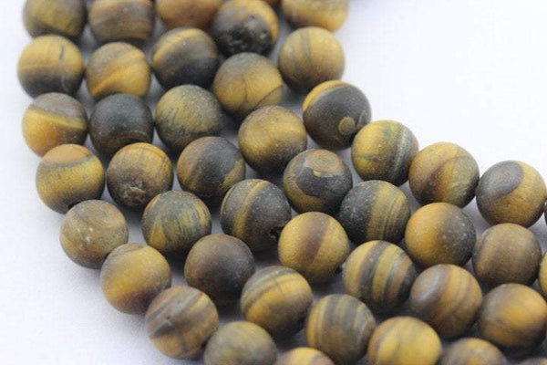 large hole yellow Tiger's eye matte round beads