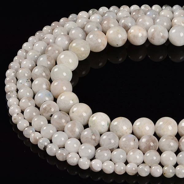 White Gray Moonstone Smooth Round Beads Size 6mm 8mm 10mm 12mm 15.5'' Strand