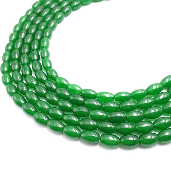 green dyed jade smooth rice shape beads
