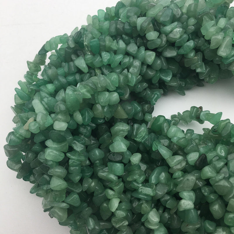 green aventurine irregular nugget chip beads