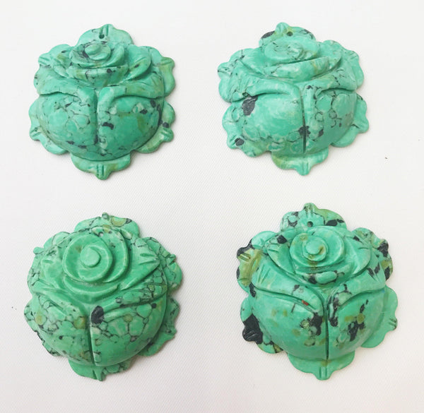 green magnesite hand carved rose pendant