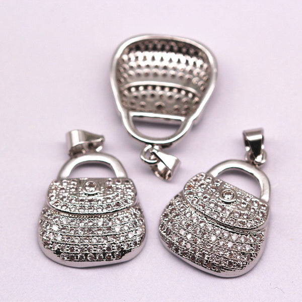 silver plated micro pave zircon bag shape pendant charm sale by piece