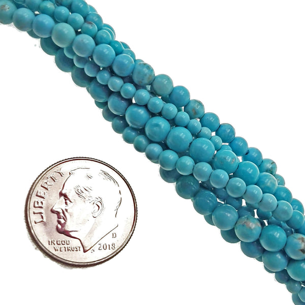 blue turquoise smooth round beads