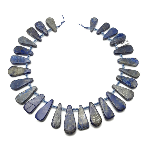 "Lapis Lazuli Graduated Smooth Flat Teardrop Beads 30-40mm 15.5"" Strand"