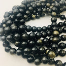 gold sheen obsidian smooth round beads