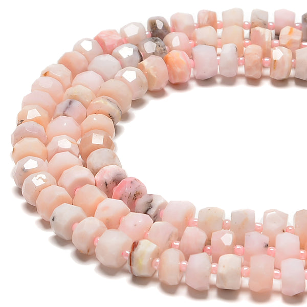 "Pink Opal Faceted Rondelle Wheel Discs Beads Size 6x10mm 15.5"" Strand"