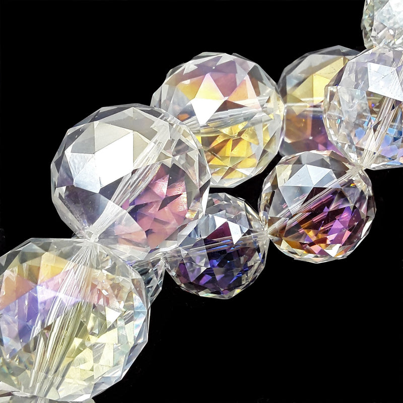 "Clear AB Crystal Glass Faceted Balls Chandelier Sun Catcher Beads 24mm 28mm 8"" Strand"