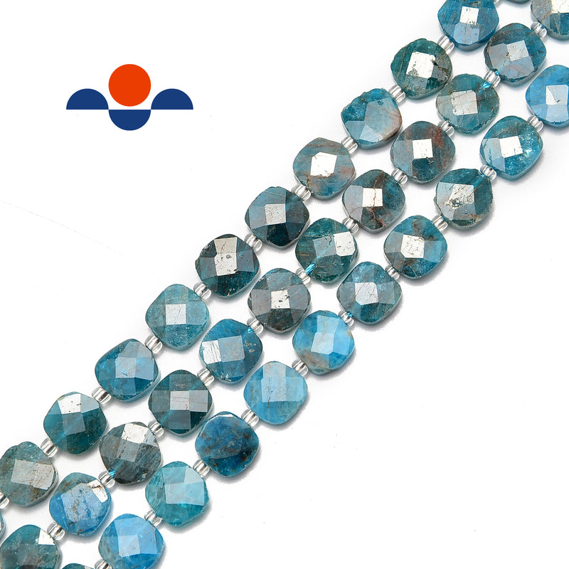natural apatite faceted flat square beads