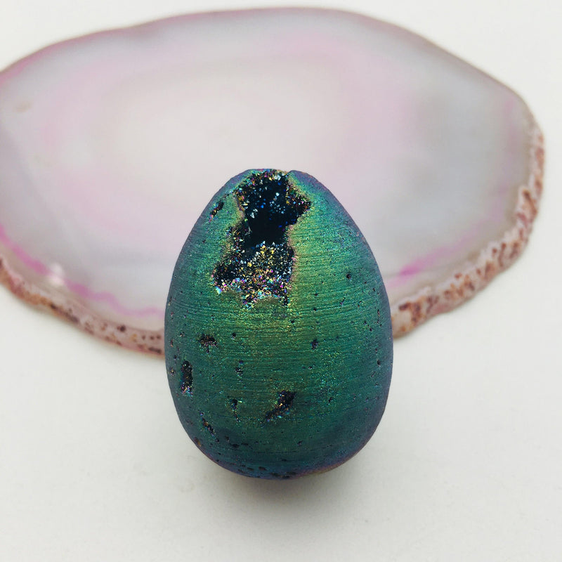 natural druzy agate egg silver gold rainbow colors