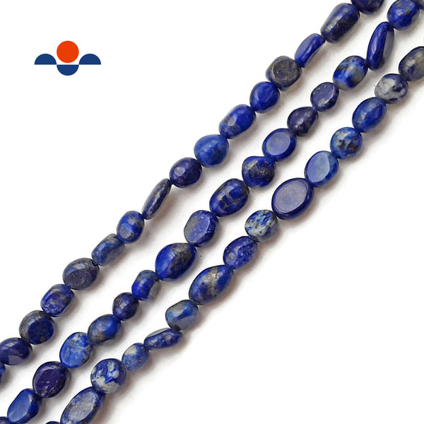 "Natural Lapis Lazuli Pebble Nugget Beads Approx 5-6mm 15.5"" Strand"