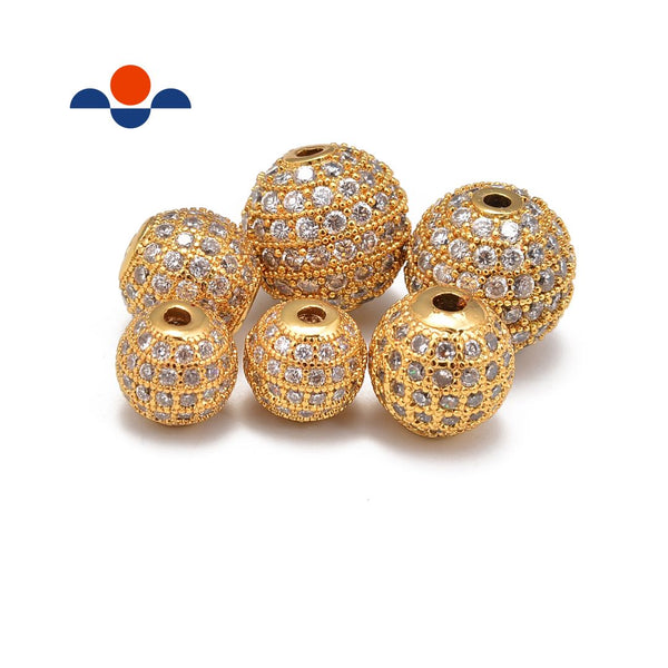gold plated micro pave clear zircon ball charm