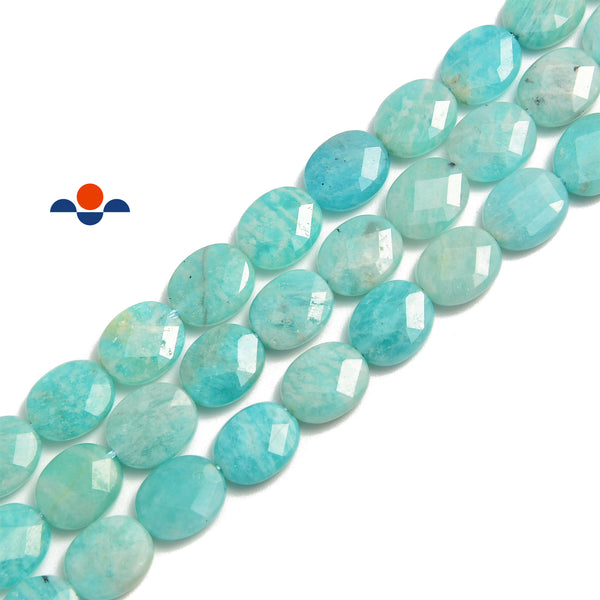 russia green amazonite faceted oval beads
