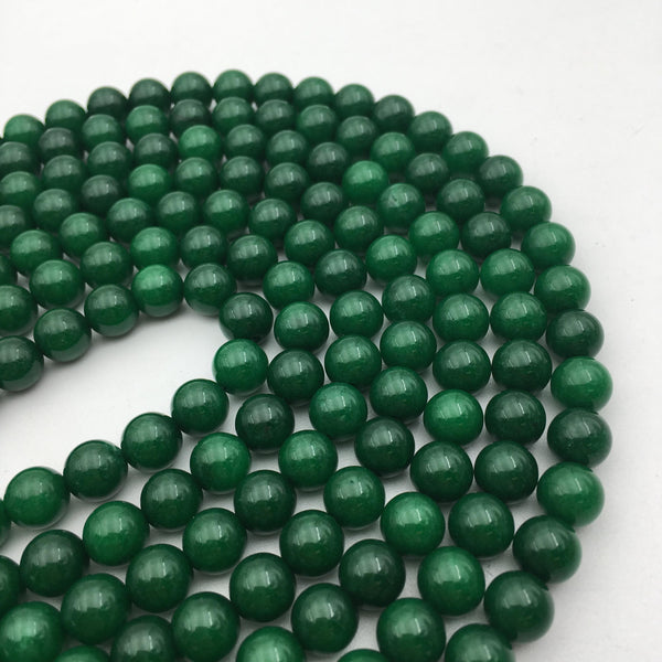 solid green dyed jade smooth round beads