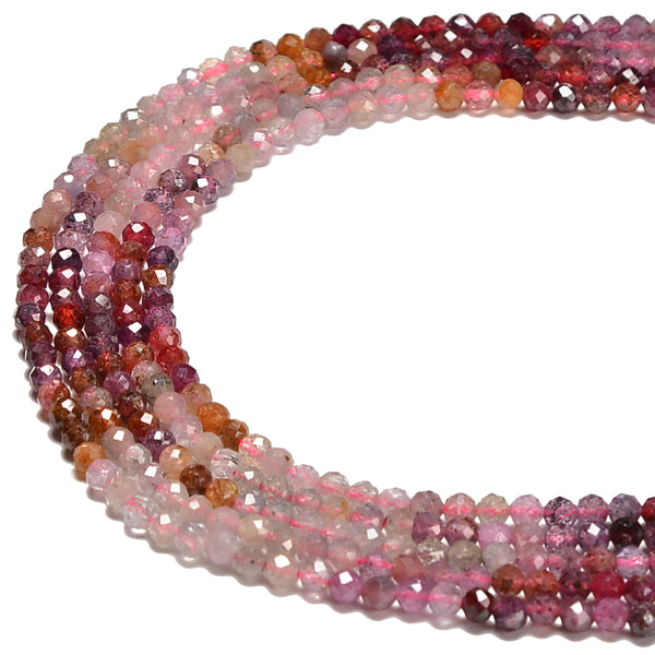 Natural Gradient Ruby Faceted Round Beads Size 3.5mm 15.5'' Strand