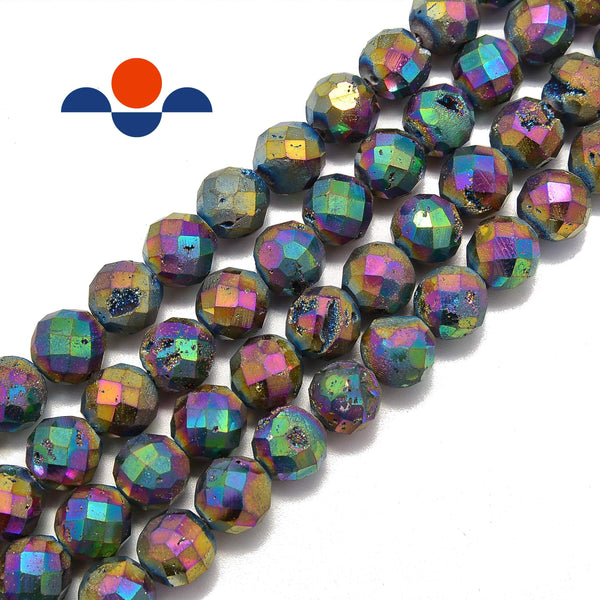 rainbow color coated Druzy agate faceted round beads