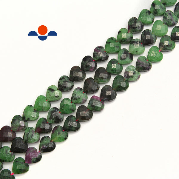 Natural Ruby Zoisite Faceted Heart Shape Beads Size 6mm 8mm 15.5'' per Strand