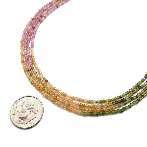 natural watermelon tourmaline faceted round beads