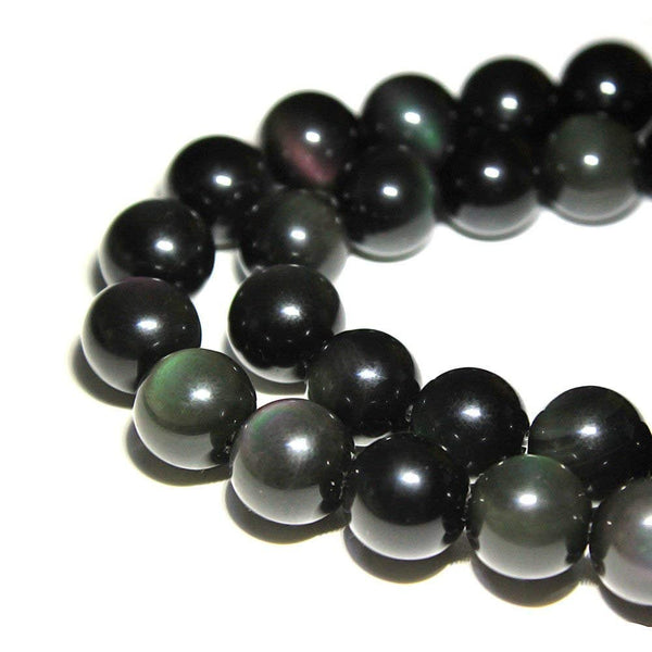 "2.0mm Hole Rainbow Obsidian Smooth Round Beads 6mm 8mm 10mm 15.5"" Strand"