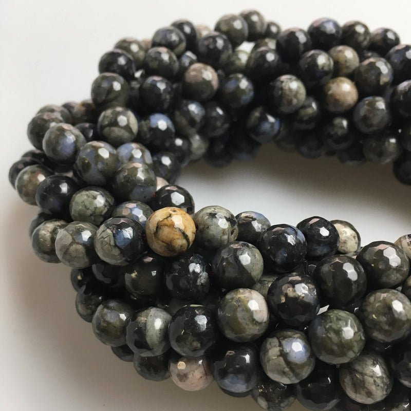 gray opal faceted round beads