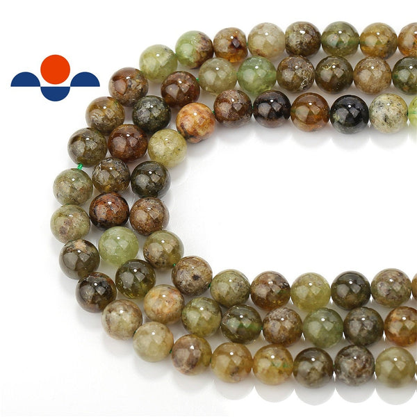 natural green garnet smooth round beads