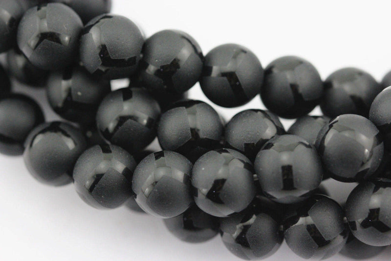 black agate soccer shiny design matte round beads