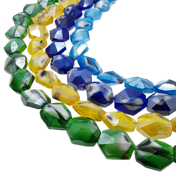 handmade lampwork artisan glass faceted nugget beads