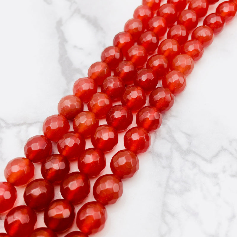 carnelian faceted round beads