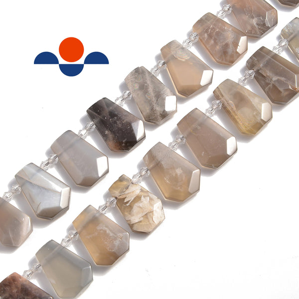 black moonstone graduated faceted trapezoid beads
