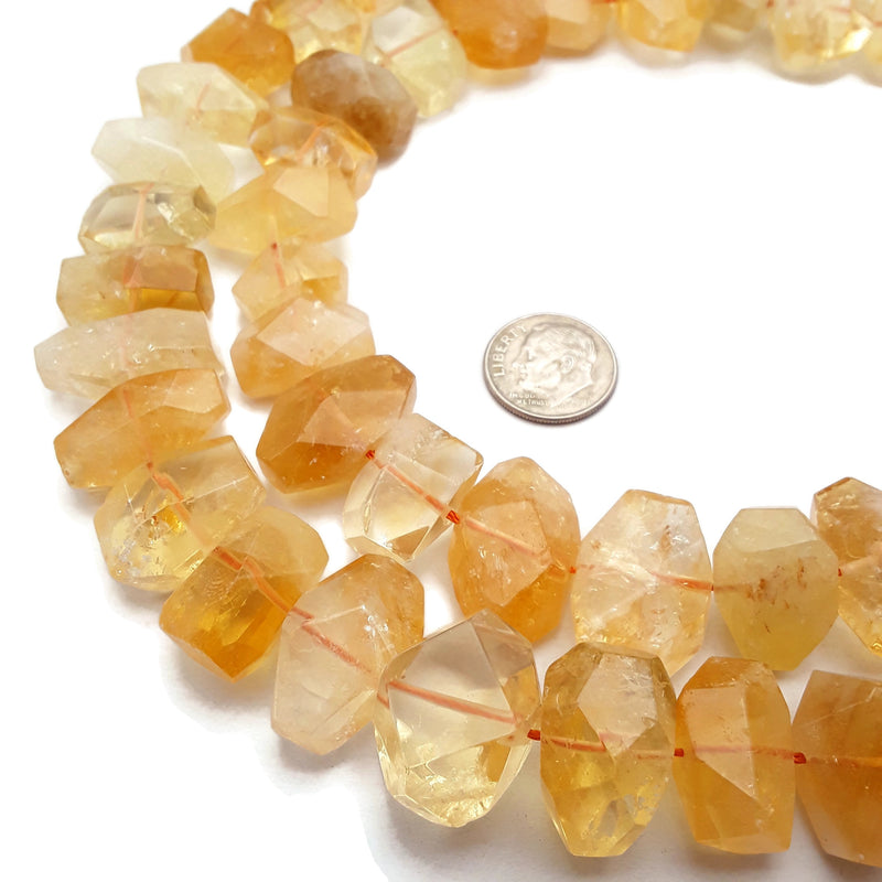 "Natural Citrine Faceted Nugget Chunk Beads Approx 12x20mm 15.5"" Strand"