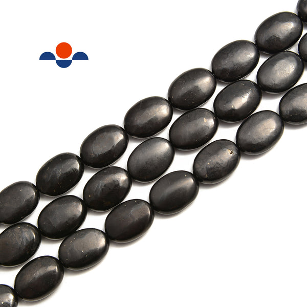 Shungite Smooth Flat Oval Beads Size 10x14mm 13x18mm 15.5'' Strand