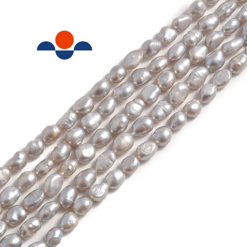 gray fresh water pearl side drill nugget beads