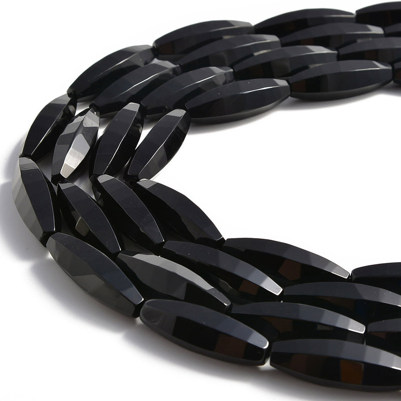 black onyx faceted rice shape beads