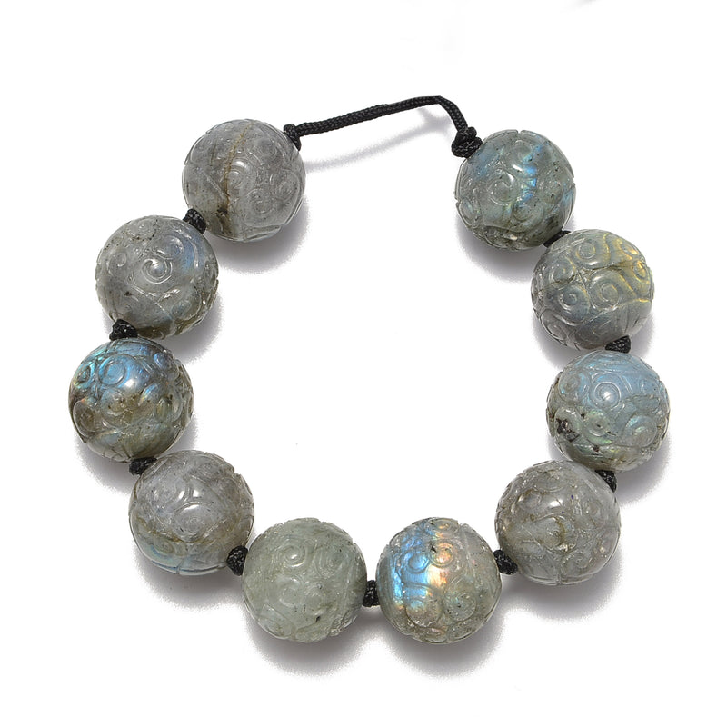 2.0mm Hole Natural Labradorite Carved Round Beads Size 18mm 8'' Strand