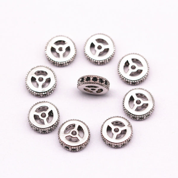 silver plated micro pave black zircon flat wheel charm