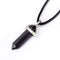 "Blue Sand Goldstone Pendulum Pendant Healing Point Size 40x8mm with 18"" Leather Chain"