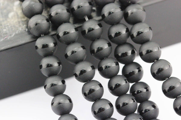 black agate Striped shiny design matte round beads